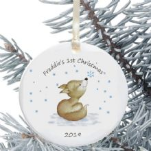 Baby's First Christmas Personalised Ornament - Baby Fox Design - New Baby Bauble Holiday Ornament